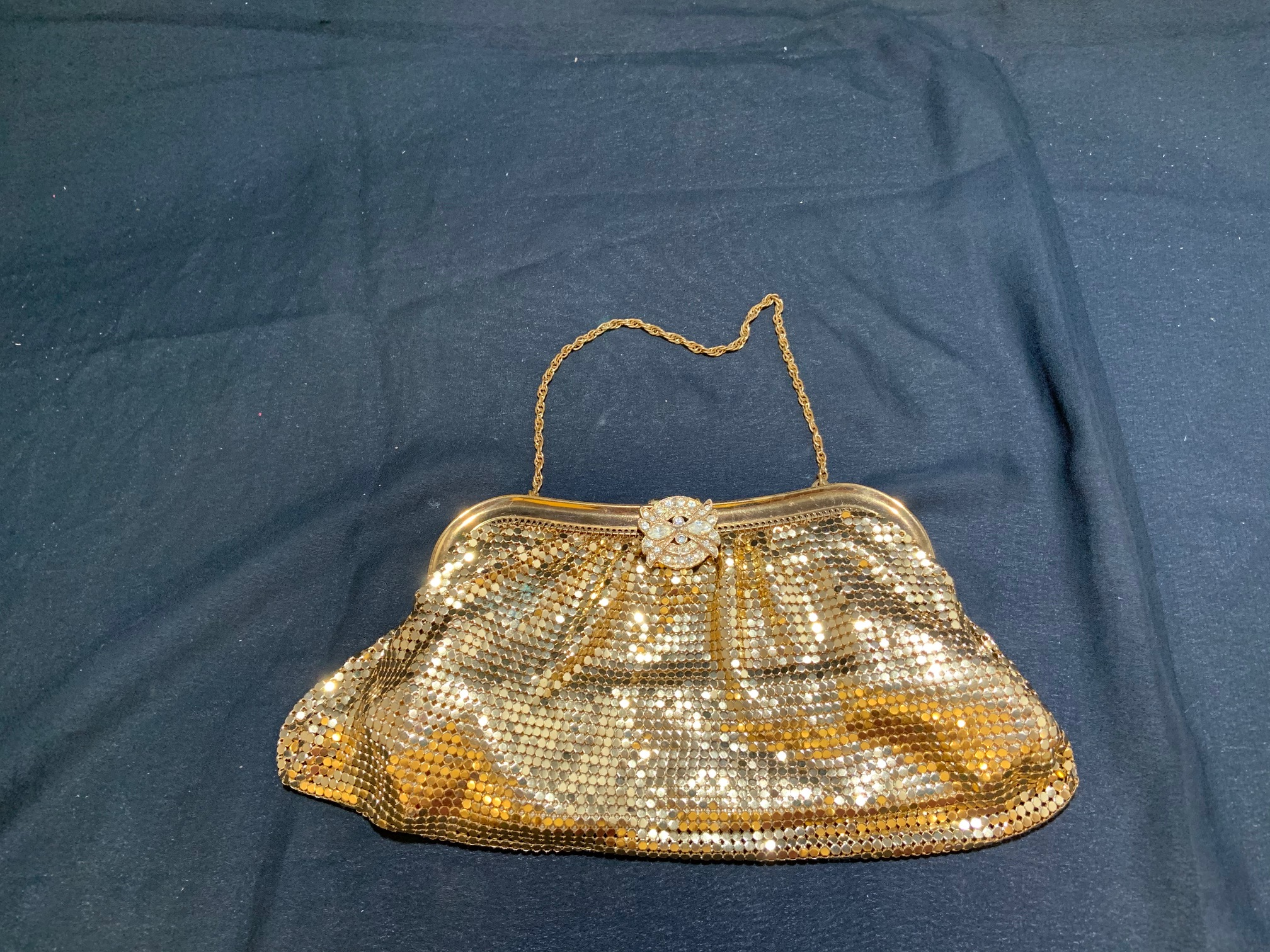 Vintage Whiting & Davis Co, Gold Mesh Evening Purse with